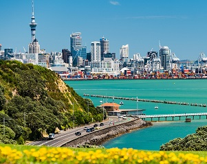 Auckland city view from Micheal Joseph Savage Memorial Park, Tamaki Drive, Auckland, New Zealand.